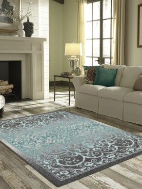 Maples Rugs Pelham Vintage Area Rugs for Living Room & Bedroom [Made in  USA], 20 x 20, Grey/Blue - living room rugs | living room rugs