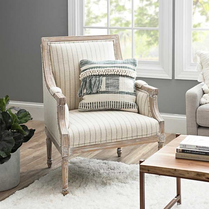 McKenna Gray and Cream Stripe Accent Chair - living room chairs | living room chairs