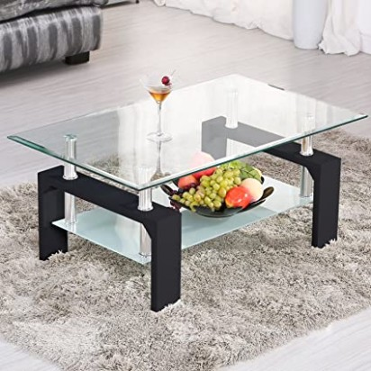 Mecor Rectangle Glass Coffee Table-Modern Side Coffee Table with Lower  Shelf Black Wooden Legs-Suit for Living Room - living room glass table   living room glass table