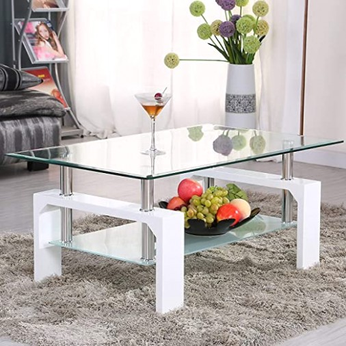 Mecor Rectangle Glass Coffee Table-White Modern Side Coffee Table with  Lower Shelf Wooden Legs-Suit for Living Room - living room glass table   living room glass table