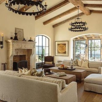 Mediterranean Living Room Cathedral Ceiling Design Ideas | living room vaulted ceiling