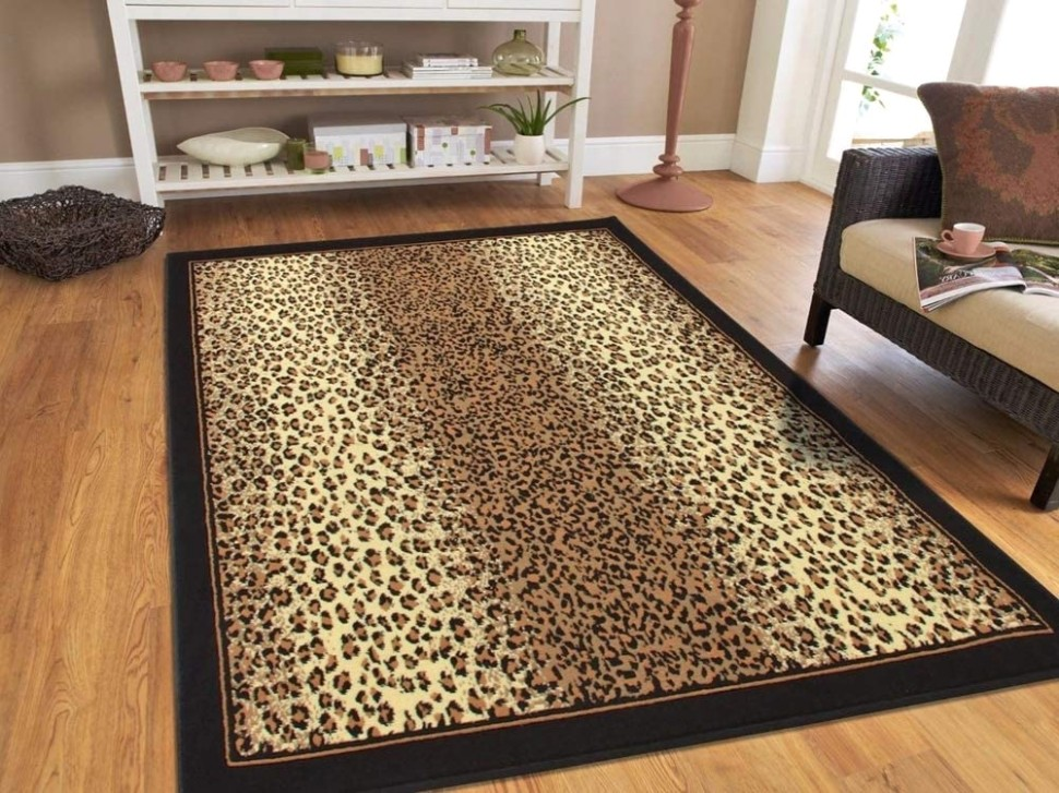 Modern Area Rugs Brown Cheetah Leopard 19x19 Rugs for Living Room 19x19 - living room 5x8 rug | living room 5x8 rug