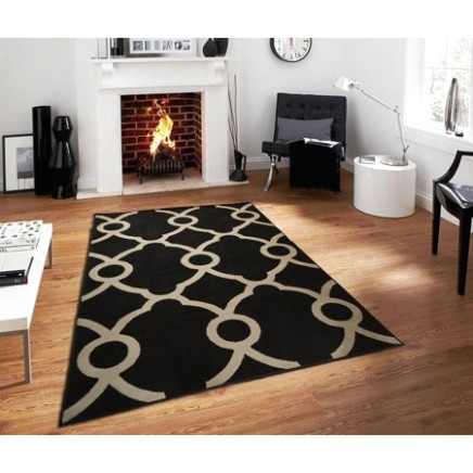 Modern Area Rugs19x19 Ctemporary Black & Gray Rug For Living Room 19x19 - living room 5x8 rug | living room 5x8 rug