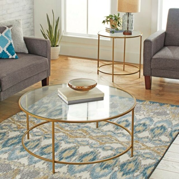 Modern Glass Coffee Table Round Contemporary Living Room Tables Gold Finish - living room glass table   living room glass table