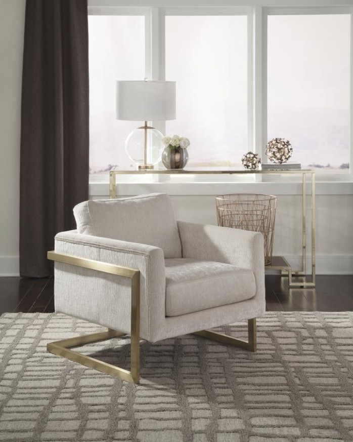 Modern Ivory and Brushed Brass Accent Chair | living room chairs