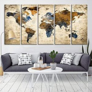 Modern Large Abstract GRUNGE Brown Dark Blue Wall Art World Map Canvas  Print for Wall Decor - Wall Art Canvas Print for Home and Living Room Decor  - ... | living room wall art