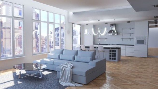 Modern living room with kitchen | 16D model - living room 3d | living room 3d