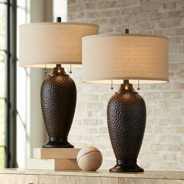 Modern Table Lamps Set of 17 Hammered Oiled Bronze for Living Room Family  Bedroom - living room lamp sets | living room lamp sets