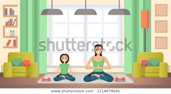 Mother Daughter Practicing Yoga Exercises Sitting Stock Vector .. | living room exercises