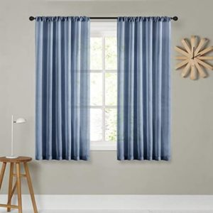 MRTREES Sheer Curtains 15 inches Long Denim Blue Curtain Sheers Living Room  Transparent Bedroom Kitchen Voile Panels Rod Pocket Drapes Window ...   living room curtains 63 inches long
