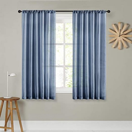 MRTREES Sheer Curtains 15 inches Long Denim Blue Curtain Sheers Living Room  Transparent Bedroom Kitchen Voile Panels Rod Pocket Drapes Window .. | living room curtains 63 inches long
