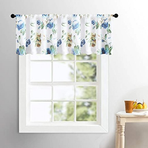 MRTREES Sheer Valances Living Room Floral Print 12 Inches Long Valance  Curtains Cotton Blend Drapes Blue Leaf Flower Printed Voile Bedroom Multi  Color .. | living room valances