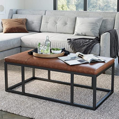 Nathan James Nelson Coffee Table Ottoman, Living Room Bench with Faux  Leather Tuft and Iron Frame, Warm Brown/Black - living room ottoman | living room ottoman