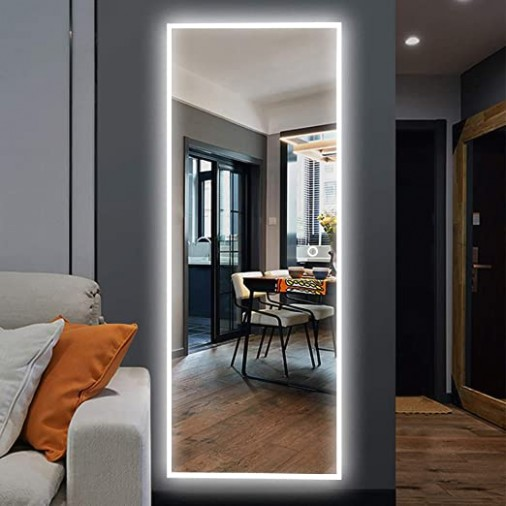 "NeuType 10""x10"" LED Mirror Full Length Dressing Mirror Large Rectangle  Bedroom Bathroom Living Room Mirrors with Touch Button and Plug, Dimmable  ... 