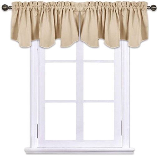 NICETOWN Living Room Blackout Valances - 12 inches by 12 inches Scalloped  Rod Pocket Valance Panels for Nursery/Living Room/Bedroom/Small Window, .. | living room valances