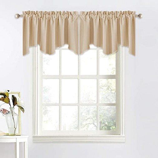 NICETOWN Thermal Room Darkening Valance - Short Curtain 12 inches by 12  inches Scalloped Valance for Living Room, Kids Room, Dorm, Nursery,  Kitchen, ... | living room valances