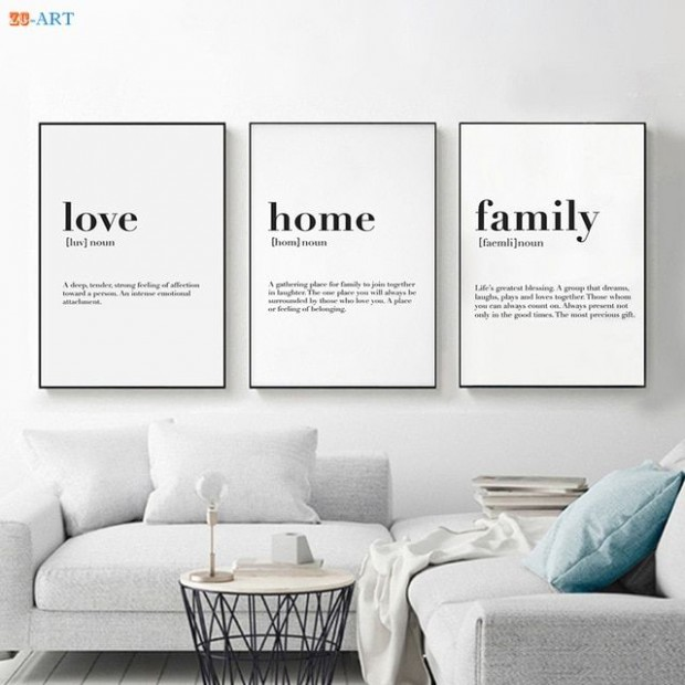Nordic Minimalist Family Quote Wall Art Canvas Poster Print ...   living room quotes