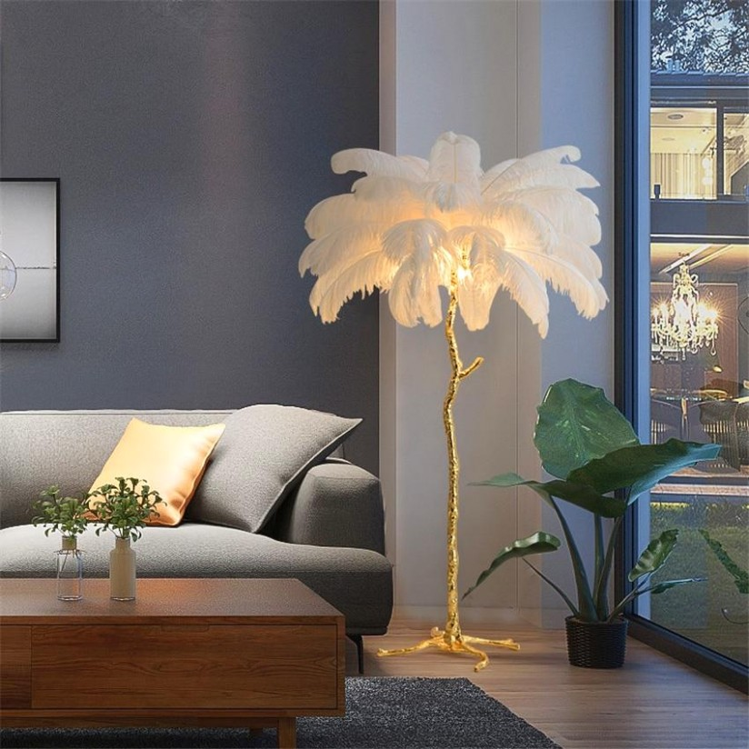 Nordic Ostrich Feather Living Room LED Floor Lamps Living Room Bedroom  Modern Interior Lighting Decor Floor Light Standing Lamp - living room lamps | living room lamps