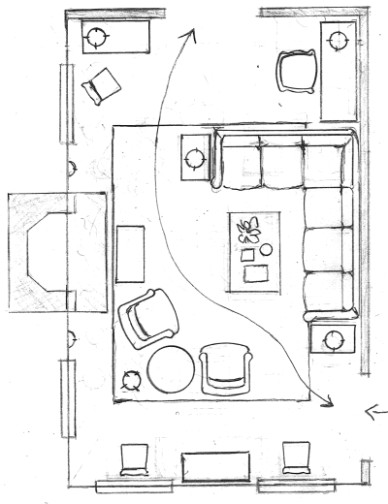 One Living Room Layout - Seven Different Ways! | Laurel Home - living room floor plan | living room floor plan