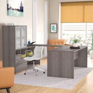 Prattsburgh Reversible U-Shape Executive Desk with Hutch | living room hutch
