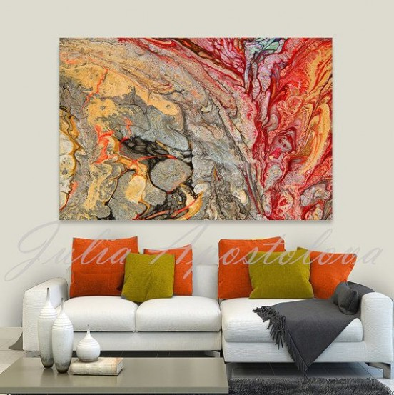 Print on Canvas, Abstract Painting, Red and Gold, Colorful Wall .. | living room paintings