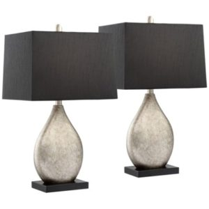 Regency Hill Modern Table Lamps Set of 17 with Black Rectangular ... | living room lamp sets