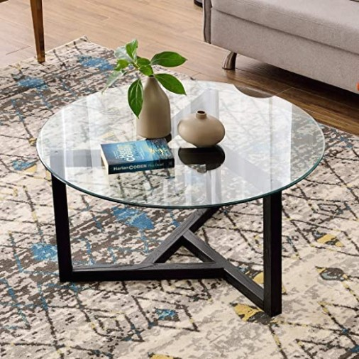 """Round Coffee Table 19"""" Modern Glass Coffee Table P PURLOVE Easy Assembly  Tempered Glass Table for Living Room with Black Wood Base - living room glass table   living room glass table"""