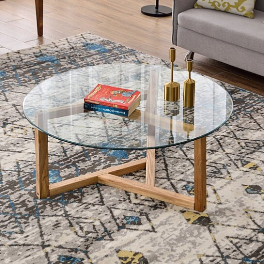 Round Glass Coffee Table Modern Cocktail Table Easy Assembly Sofa Table for  Living Room with Tempered Glass Top & Sturdy Wood Base (Oak) - living room glass table   living room glass table