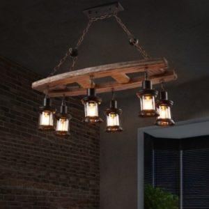 Rustic Island Chandelier Iron and Wood 17 Heads Hanging Light Fixtures in  Black for Living Room | living room light fixtures