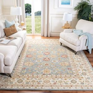 Safavieh Antiquities Collection AT21A Handmade Traditional Oriental Grey  Blue and Beige Wool Area Rug (21' x 21') | living room 8x10 rug