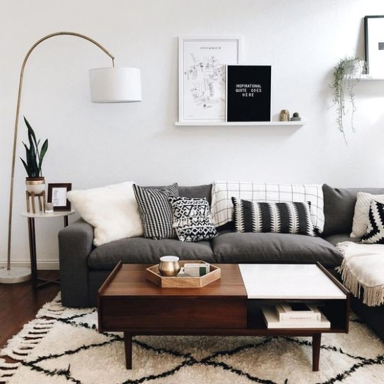 Scandinavian Living Room - Down to earth colors with black and .. | living room scandinavian