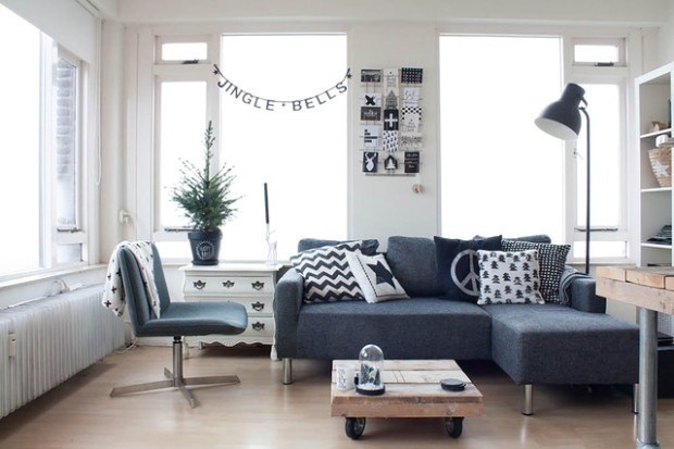 Scandinavian style on a budget in a small city apartment ... | living room scandinavian