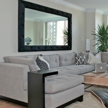 Sectional is from ABC Home, and retractable coffee table is from .. | living room mirrors