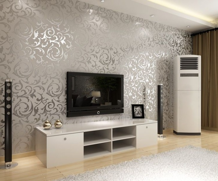 Silver Wallpaper.. ACTUALLY IN LOVE WITH THIS | Wallpaper living .. | living room wallpaper