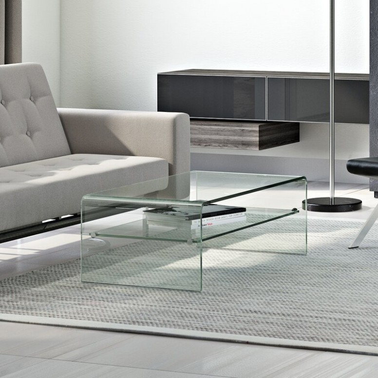 Sled Coffee Table with Storage - living room glass table   living room glass table