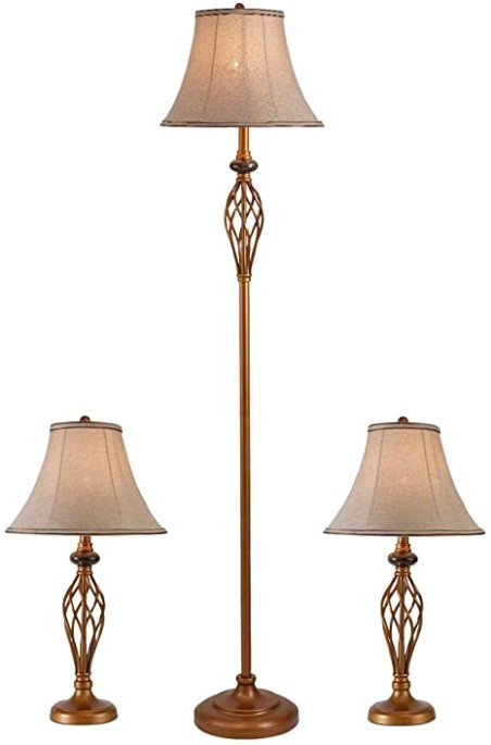 Smeike Three Pack Lamp Set (177 Table Lamps, 17 Floor Lamp), 17-Piece Floor and  Table Lamp Set, Traditional Bronze Table Lamps for Bedroom and Living .. | living room lamp sets