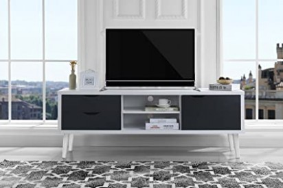 Sofamania Mid-Century Style TV Stand, Living Room Entertainment Center  (White/Dark Grey) - living room tv | living room tv