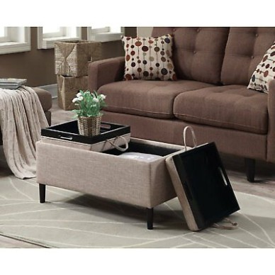 Storage Ottoman Coffee Table Beige Upholstery Reversible Tray Top Living  Room | eBay - living room ottoman | living room ottoman