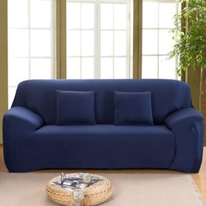 Stretch Elastic, Anti-Wrinkle, Pure Color Slipcover For 113-113 Seater Sofas  For Moving Living Room Furniture (13 Seater, Dark Blue) | living room 3 seater sofa