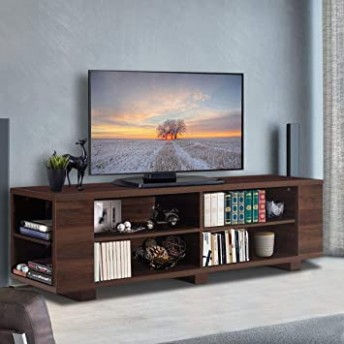 """Tangkula TV Stand Modern Wood Storage Console Entertainment Center for TV  up to 118"""", Home Living Room Furniture with 18 Open Storage Shelves (Walnut) - living room entertainment center 