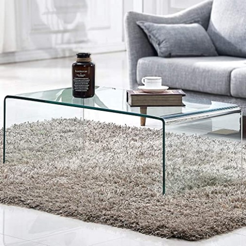 Tempered Glass Coffee Table,Living Room Clear Cocktail Table(19.19x19.19x19   living room glass table