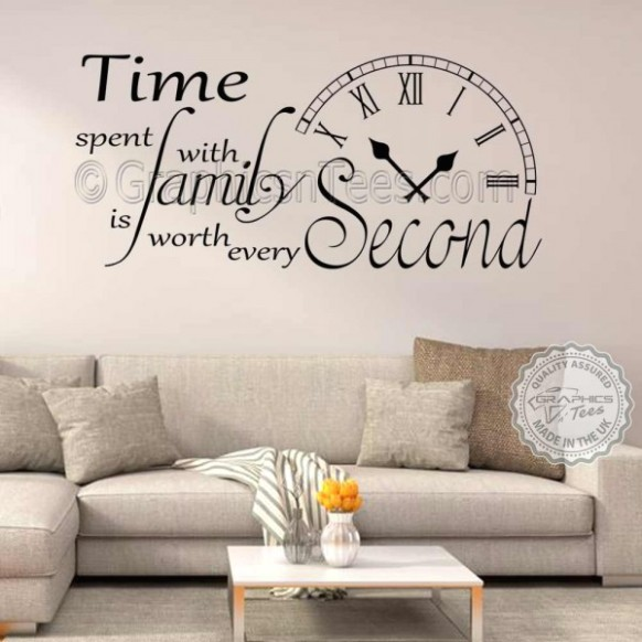 Time Spent with Family is Worth Every Second Inspirational Wall Sticker  Quote, Living Room Home Vinyl Wall Art Decor Decal 20 - living room quotes   living room quotes