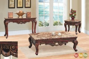 Traditional 14 Piece Living Room Coffee & End Table Set w/ Marble Tops   living room 3 piece table set