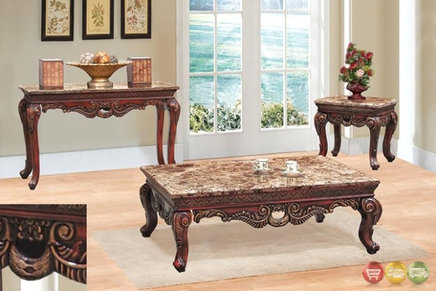 Traditional 14 Piece Living Room Coffee & End Table Set w/ Marble Tops - living room 3 piece table set | living room 3 piece table set