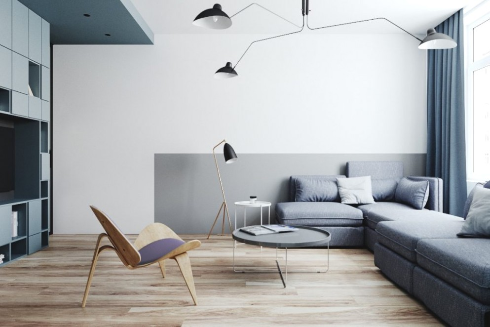 Two Small Apartments: A Blue Oasis of Minimalist Living - living room minimalist | living room minimalist