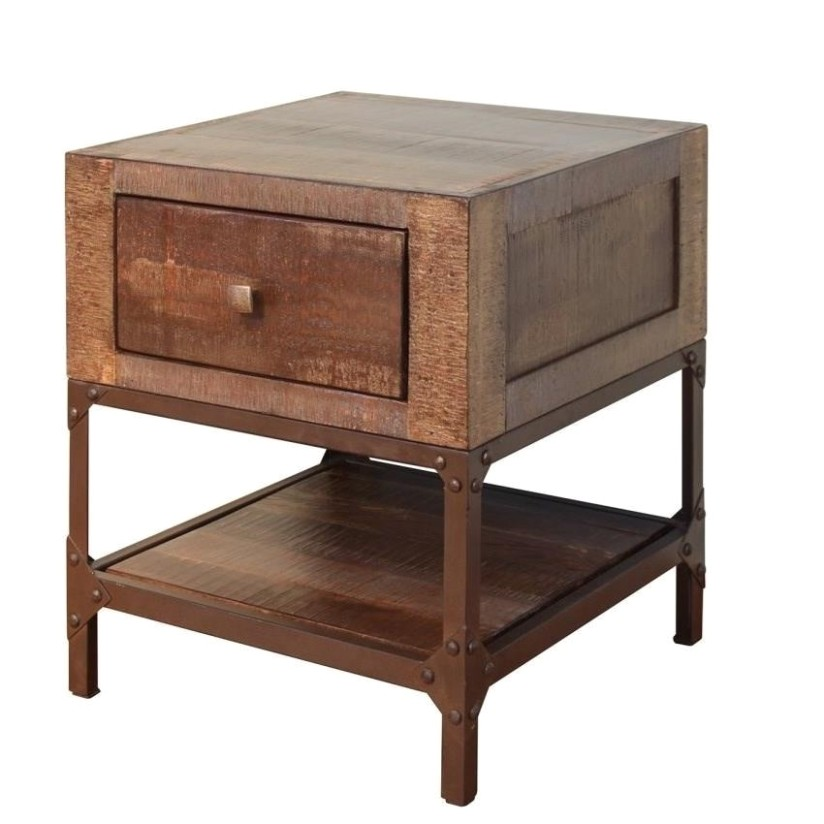 Urban Gold Rustic Contemporary End Table with 16 Drawer by International  Furniture Direct at Dunk & Bright Furniture - living room end tables | living room end tables