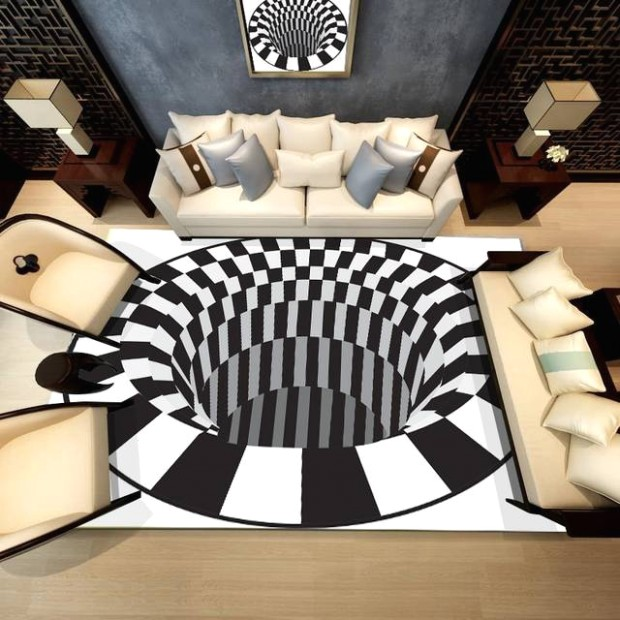 US $14.14 14% OFF|14D White Black Abstract Geometric Living Room Area Rugs  Carpets Optical Illusion Printed Tapete Non Slip Floor Mats Home .. | living room area rugs