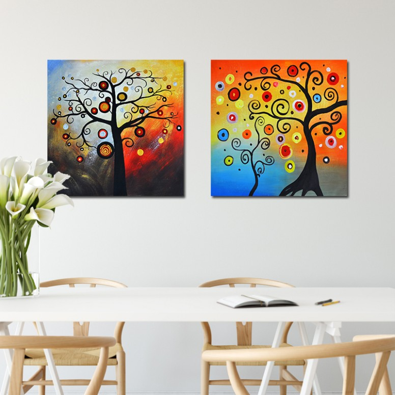 US $16.165 16% OFF|NEWBILITY Modern Canvas Art Print Klimt Style Lucky Tree  Paintings Living Room Decoration Hotel Bedroom Posters Hallway Wall .. | living room paintings
