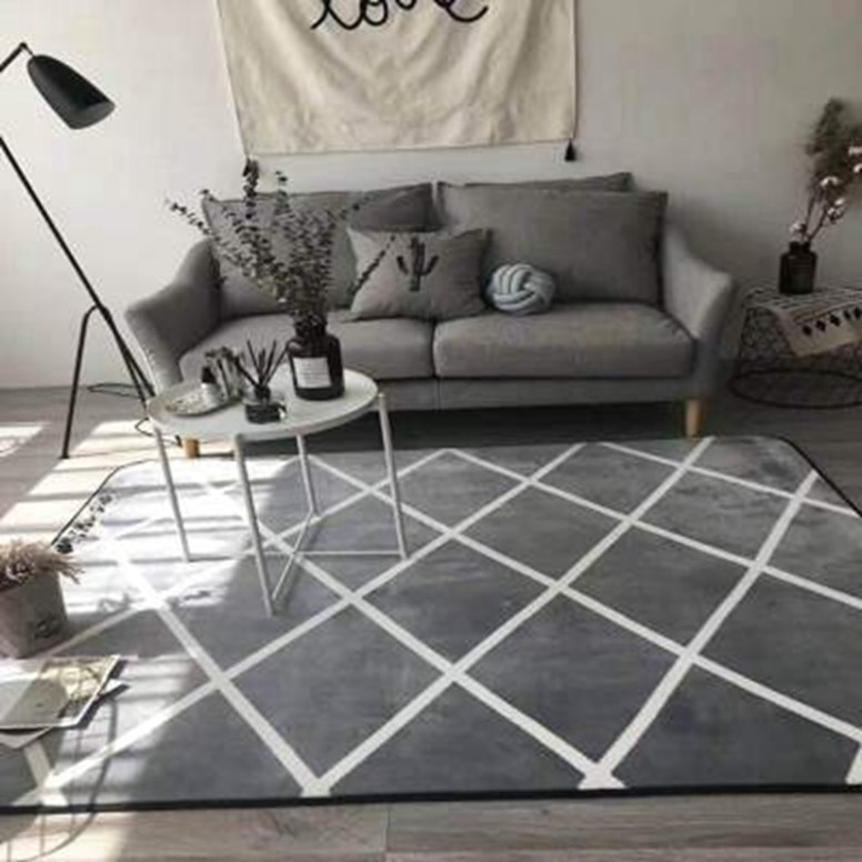 US $18.18 18% OFF|Grey White Geometric Area Rugs Nordic Large Carpets For  Living Room Bedroom Kids Floor Mat Yoga Pad Antiskid Home Decor .. | living room yoga