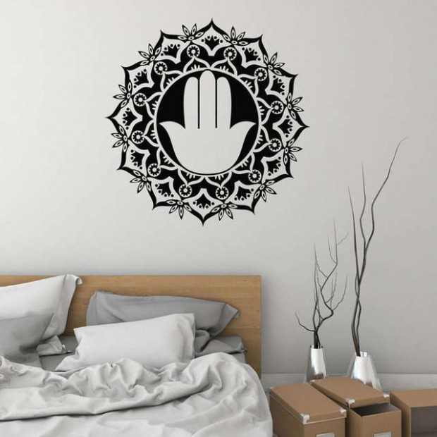 US $18.18 18% OFF|Mandala Wall Sticker Vinyl Home Decor Living Room Interior  Mural Hand Hinduism Meditation Room Yoga Pattern Decal Removable 18|Wall  .. | living room yoga